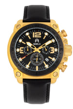 Shield Tesei Chronograph Leather-Band Men's Diver Watch w/Date - Gold/Black