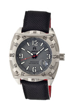 Shield Pilecki Leather-Band Swiss Mens Diver Watch - Silver/Grey