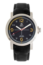 Shield Berge Leather-Band Men's Diver Watch - Silver/Black