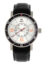 Shield Gilliam Leather-Band Men's Diver Watch - Silver