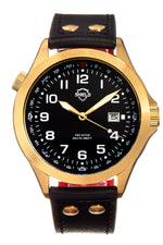 Shield Palau Leather-Band Men's Diver Watch w/Date - Gold/Black