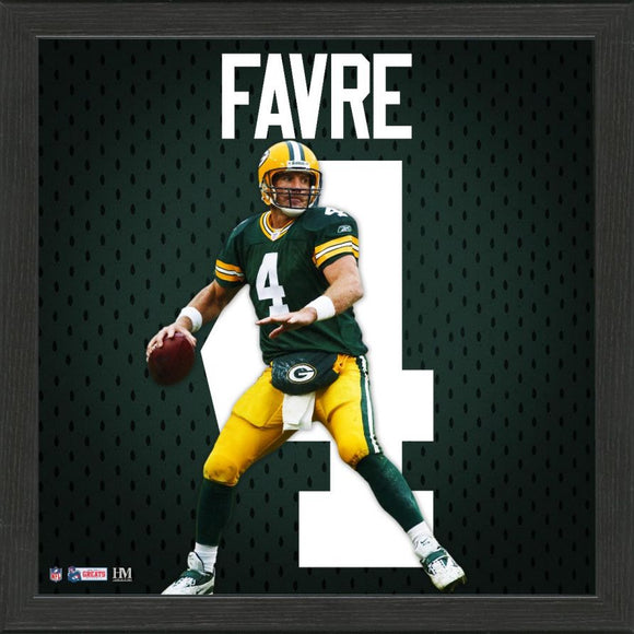 Green Bay Packers Impact Jersey Framed Photo Starr, Favre, Rodgers, Jones