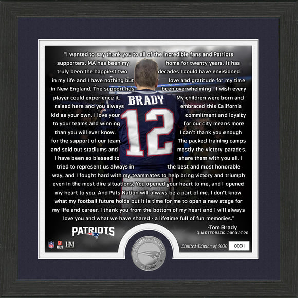 NFL New England Patriots Tom Brady Farewell Frame
