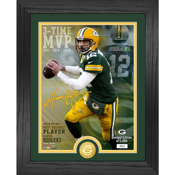 Packers Aaron Rodgers 2020 NFL MVP Bronze Coin Photo Mint