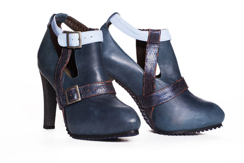 Lola Leather Bootie - Blue