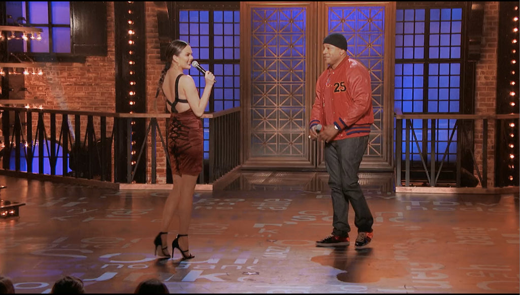 Chrissy Teigen wearing MURMUR Pulp Dress for 'Lip Sync Battle' TV Show