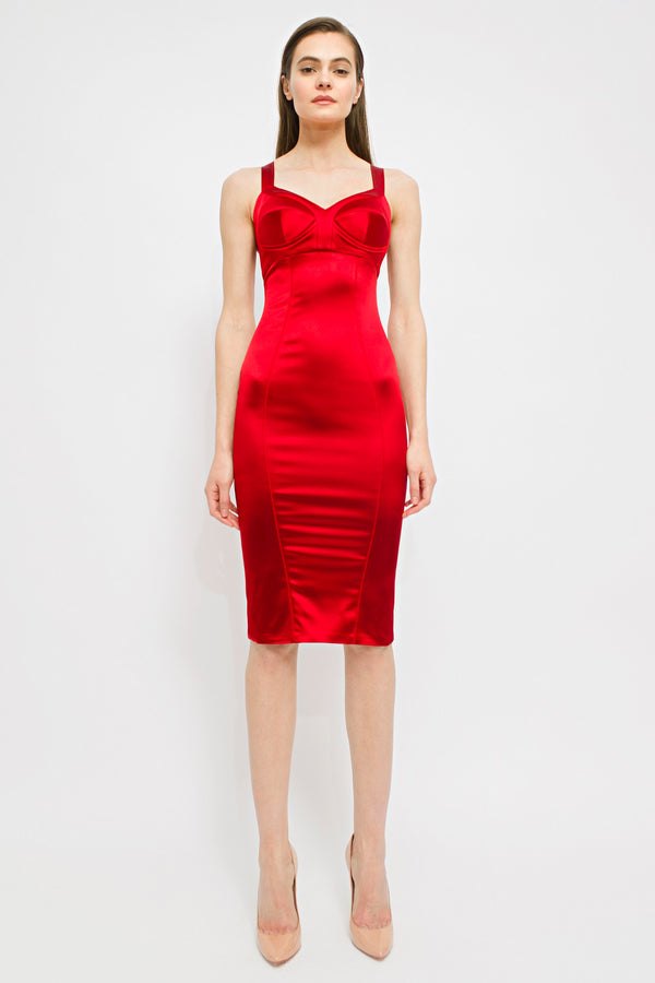 Satin Sculpt Dress Red