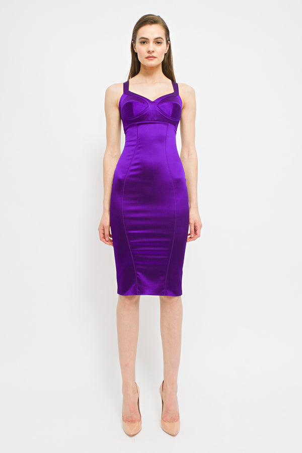 Satin Sculpt Dress Violet