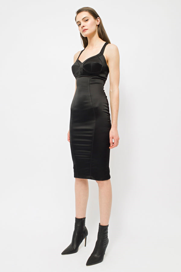 Satin Sculpt Dress Black