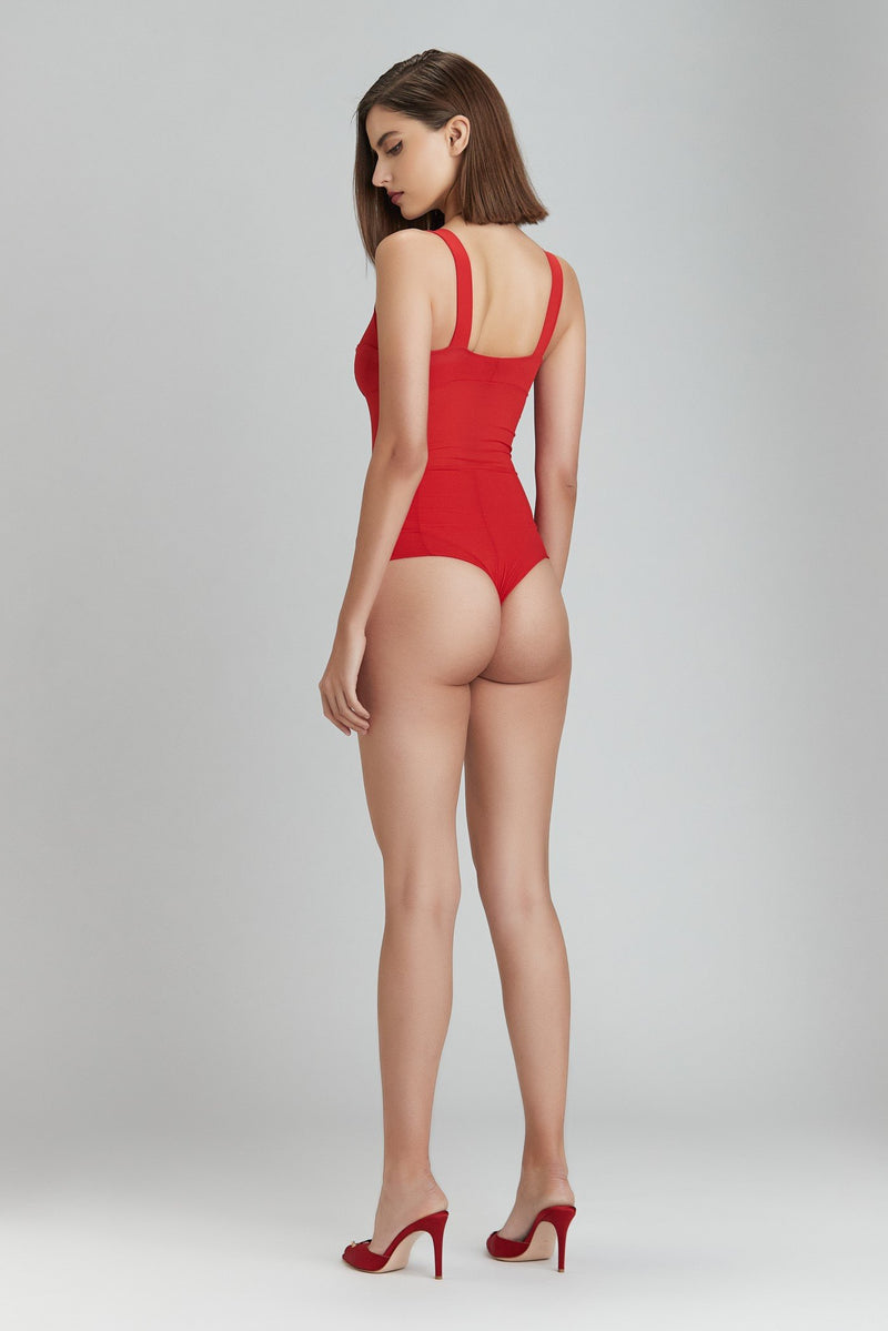 Grid Bodysuit Red