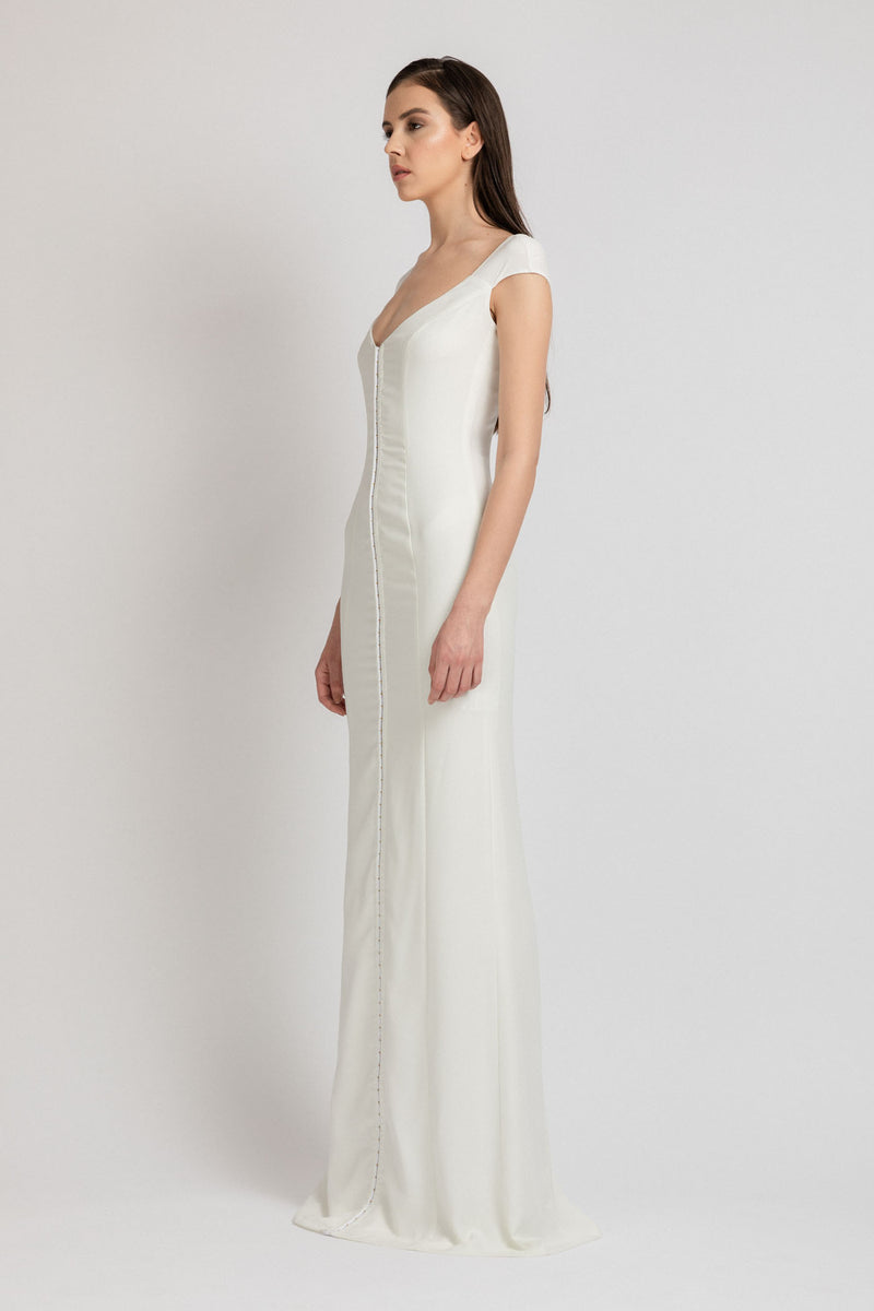 Snap Long Dress White