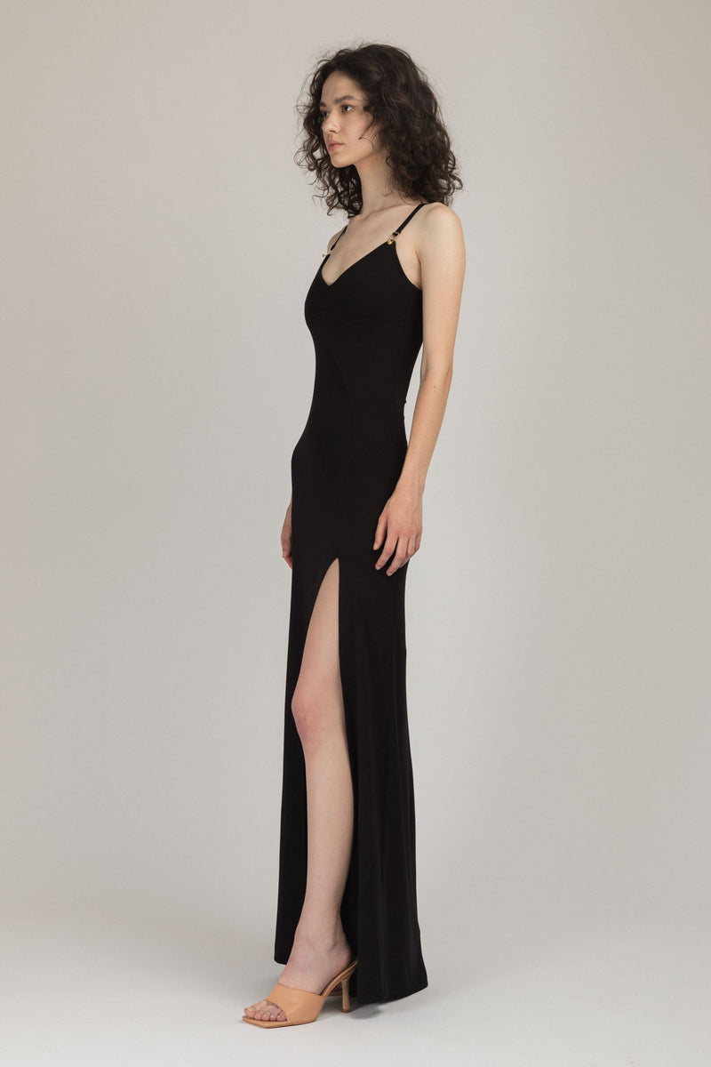 Skin Long Dress Black