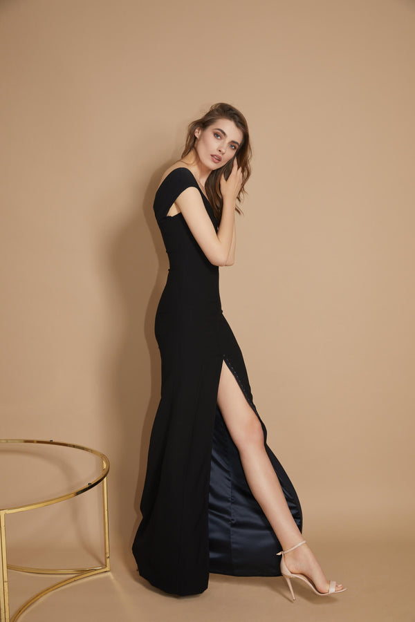 Snap Long Dress Black