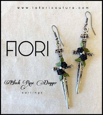 BLACK ROSE DAGGER Earrings