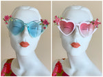 Cherry Blossom Heart shaped Sunglasses - Clear Blue