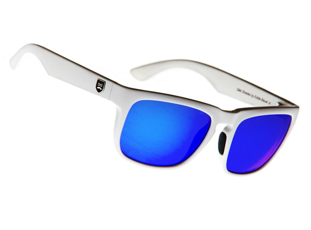 f3eeb755d4 Get noticed in our Huckleberry sunglasses in white with blue lenses ...