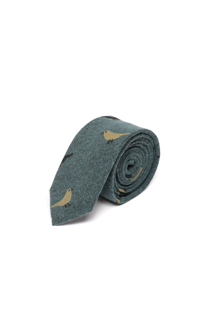 Bird Novelty Tie, Pastel Blue