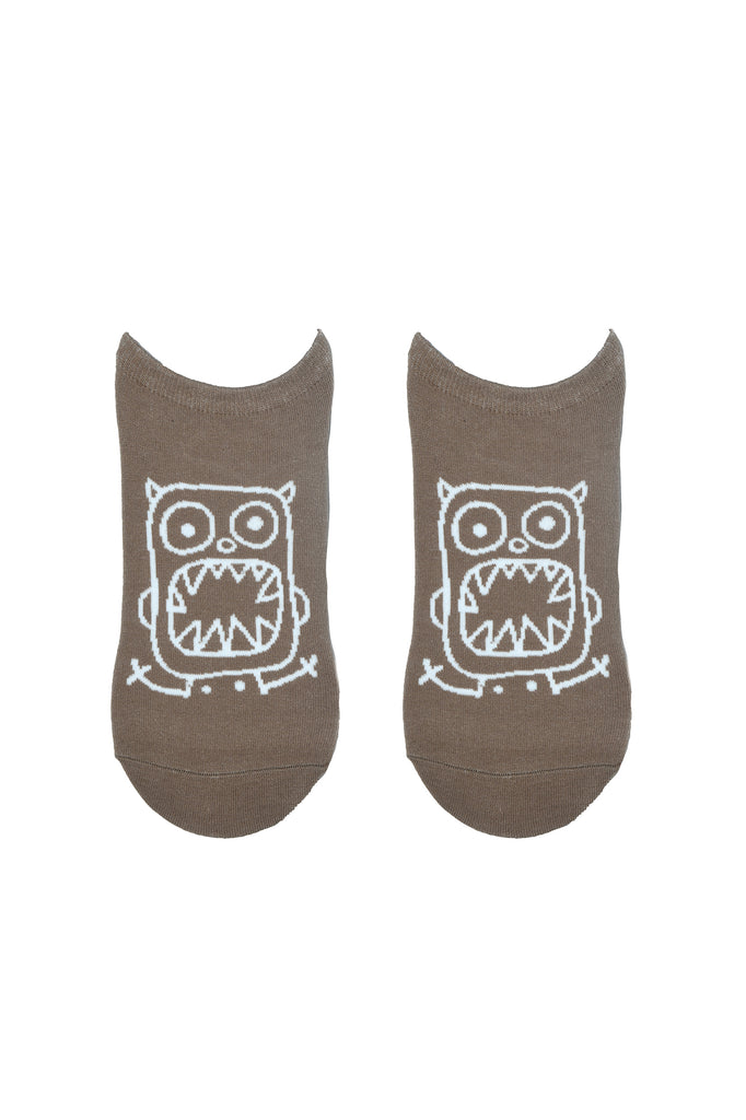 TOFFCRAFT - Monster Face Graphic Low Cut Ankle Beige Socks