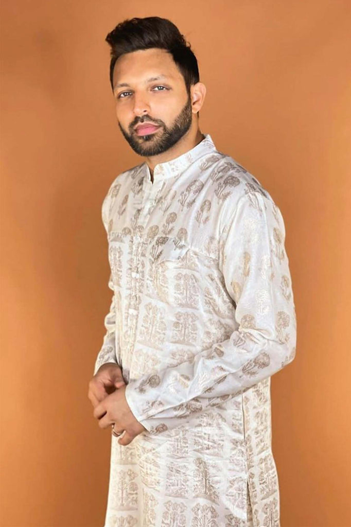 IVORY BUNCH OF BIRDS KURTA