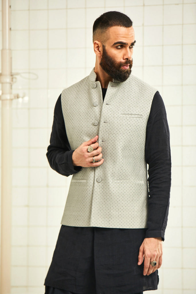 Dhadhu block print quilted waistcoat