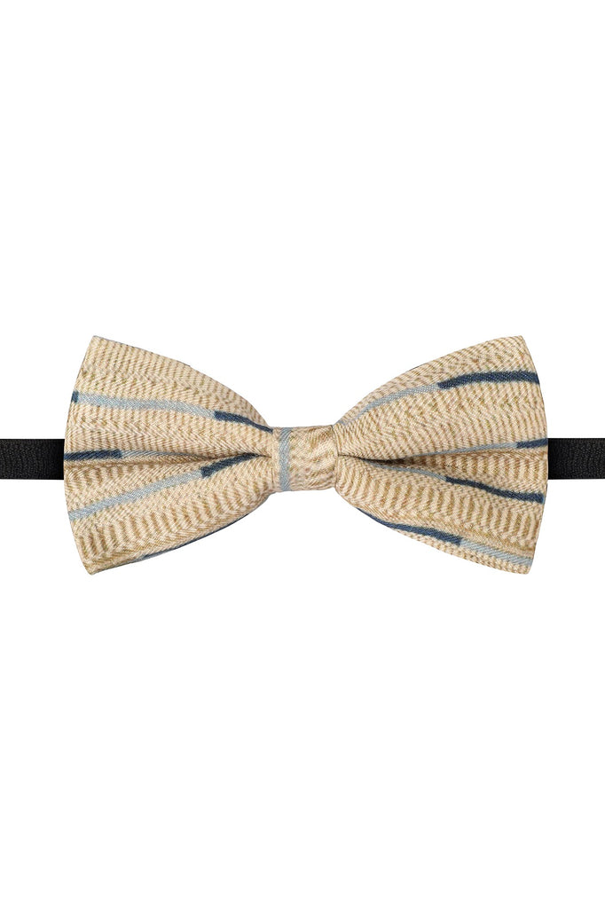 Printed Cream and Blue Bow Tie