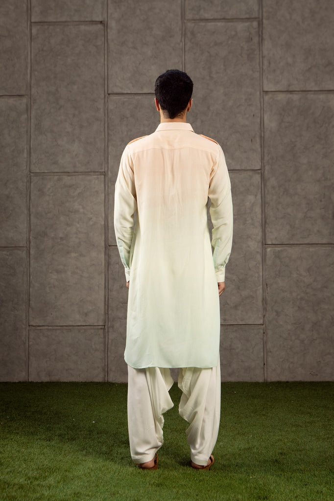 Peach Blue kurta.