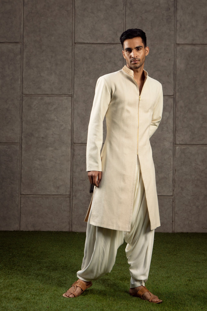 Ivory and gold Sherwani set