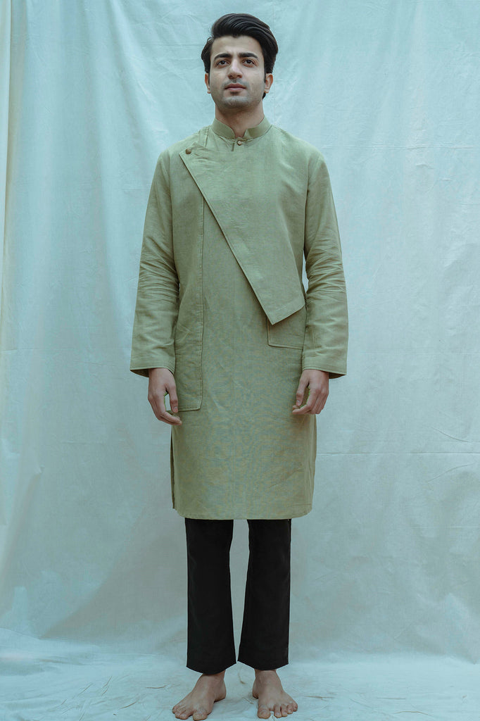 Nature Green Kurta and Black Pants