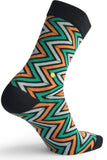 The Moja Club Orange and Green Zig Zag Socks