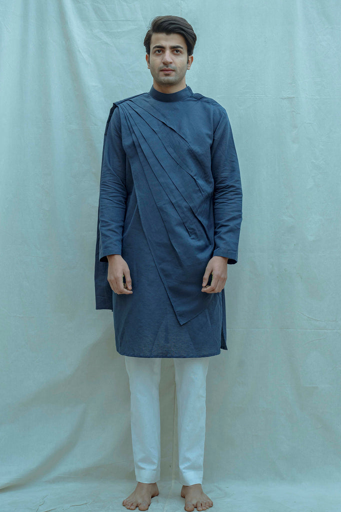 Royal Blue Kurta and white pants