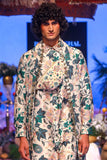White Abutilon print dupion silk shirt kurta Set