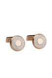White Enamel Inlay Cufflink Set