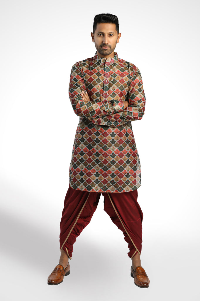 GREEN MARRON PRINTED CHANDERI KURTA