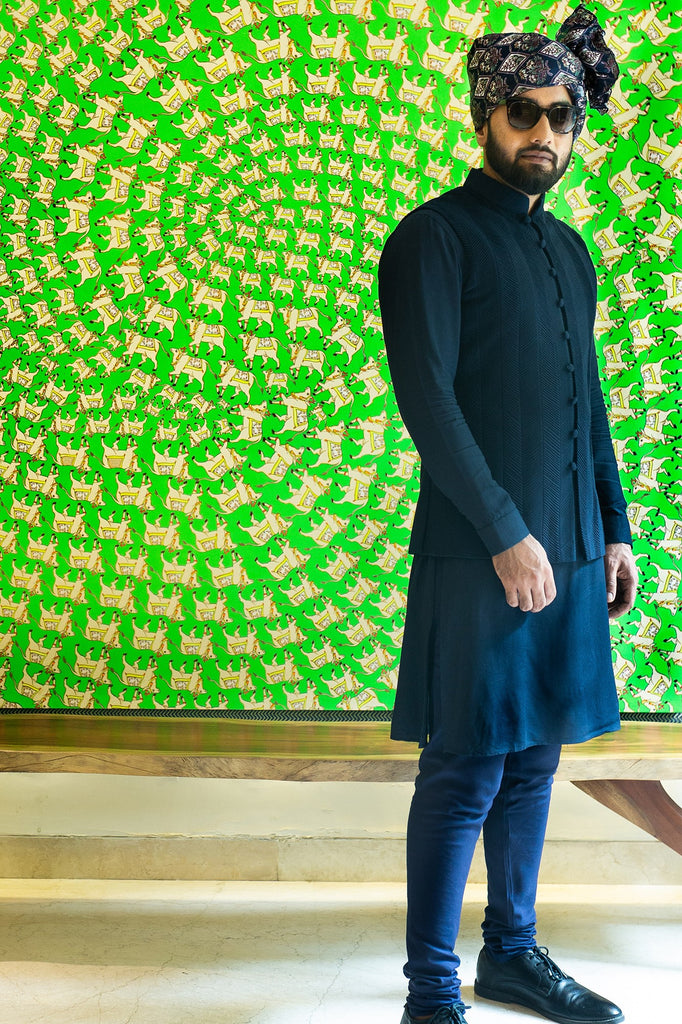 Aztec Collection - Navy Blue Kurta Set
