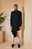 BLACK HYBRID SHERWANI SET