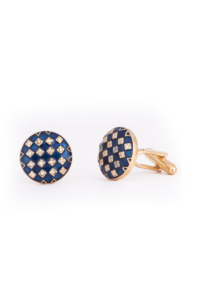 Gingham Enamel Cufflinks 1