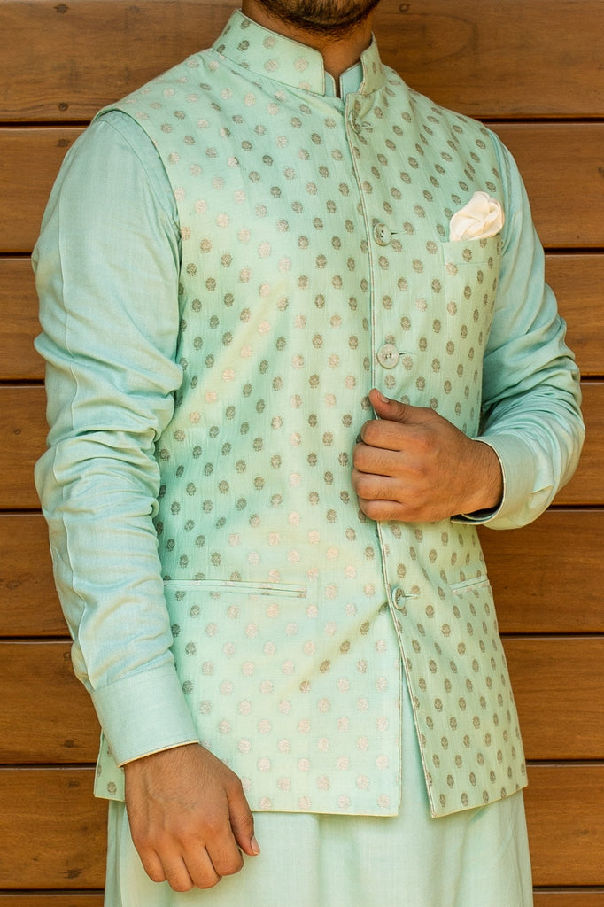 Banarasi Silk Collection - Aqua Blue Nehru Jacket