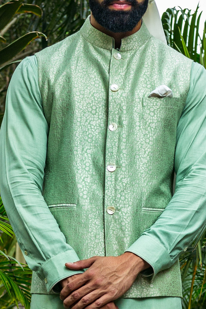 Banarasi Silk Collection - Lime Nehru Jacket