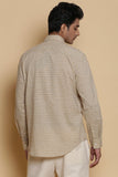Beige Calligraphy Embroidered Regular-Fit Cotton Shirt