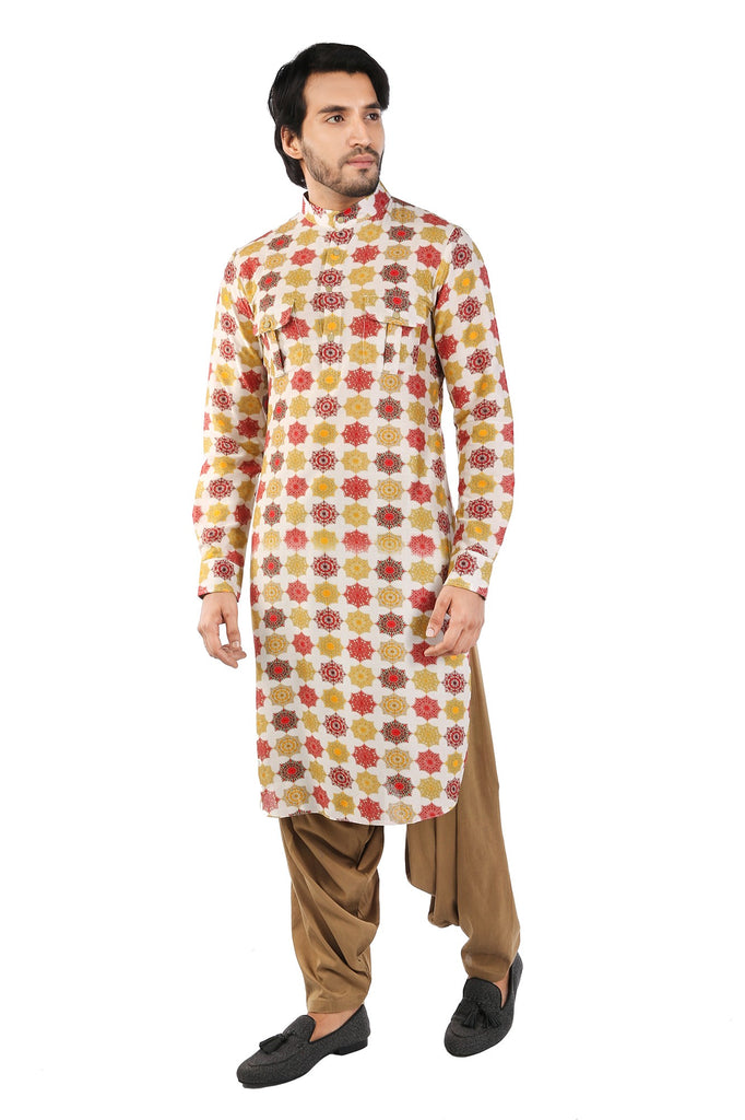 Beige Red haneri Cotton Silk Kurta