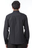 Black Silk Quilted French-Cuff Regular-Fit Shirt