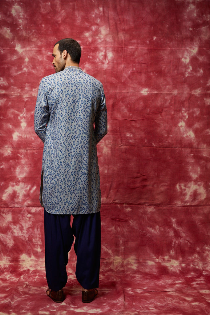 Blue printed pathani set