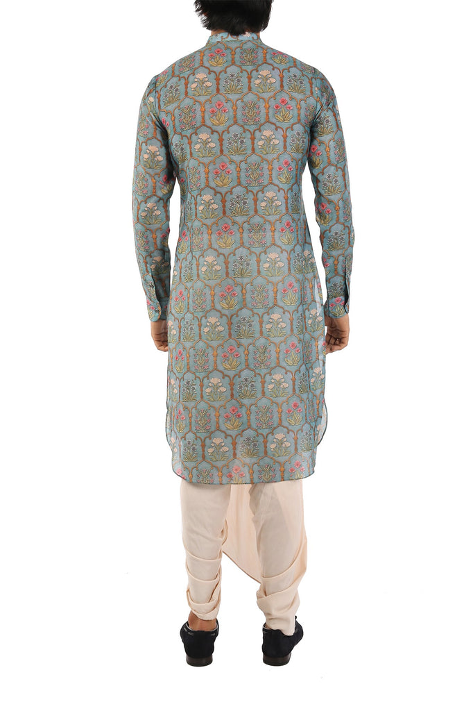 Chaneri Blue Cotton Silk Kurta