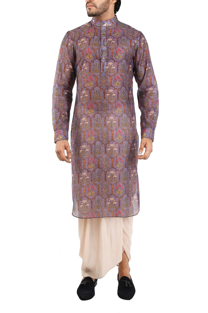 Chaneri Purple Cotton Silk Kurta