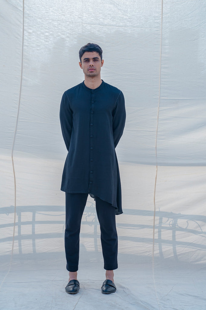 Cotton X Linen Bad and Black Kurta