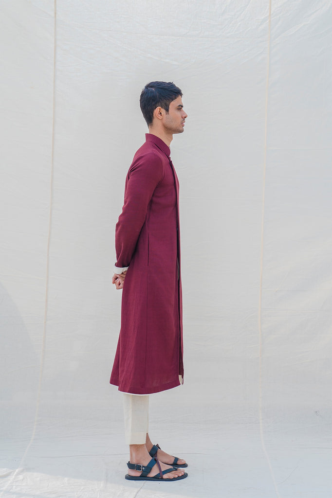 Cotton X Linen In Maroon Kurta