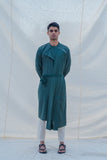 Cotton X Linen kurta in Bottle Green