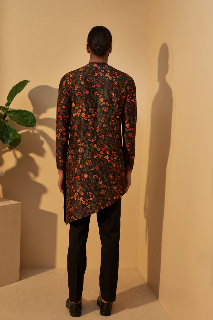 BLACK DIP DYED PRINTED KURTA SET