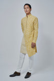 LIGHT MUSTARD PRINTED ASYMMETRICAL KURTA SET