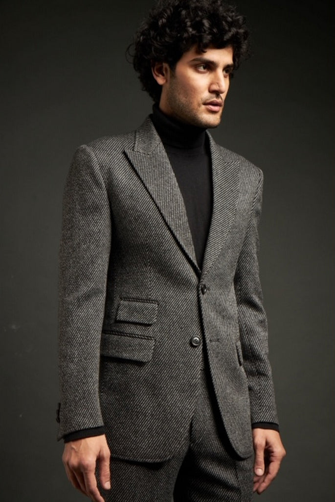 Grey Twill Wool Suit